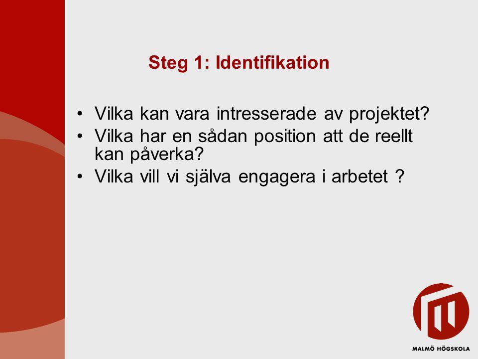 Steg 2: Fastställa relationer Indelning i primära och sekundära intressenter Primära: direkt intresse i projektet Sekundära: kan ha intresse Varför skulle de vara intresserade.