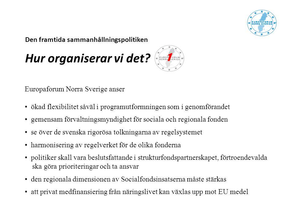 Den framtida sammanhållningspolitiken Hur organiserar vi det? Europaforum Norra Sverige anser ökad flexibilitet såväl i programutformningen som i geno