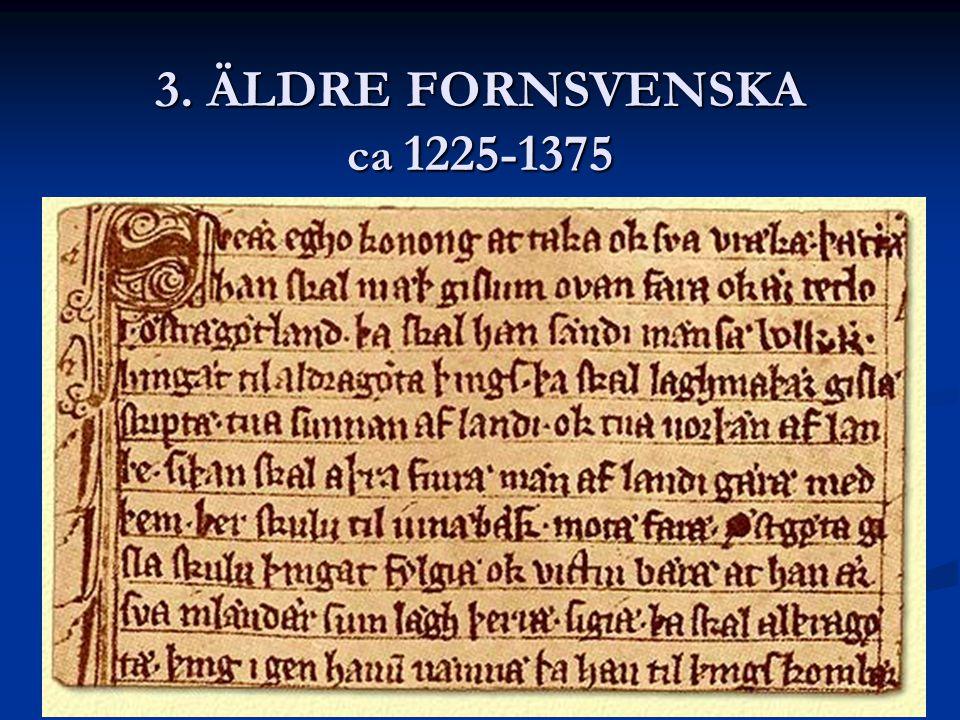 3. ÄLDRE FORNSVENSKA ca 1225-1375 Kristendomen spreds i Sverige och bibliska namn eller helgon namn blev vanliga. Kristendomen spreds i Sverige och bi