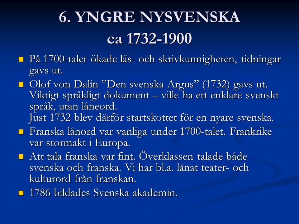 6.YNGRE NYSVENSKA ca 1732-1900 På 1700-talet ökade läs- och skrivkunnigheten, tidningar gavs ut.