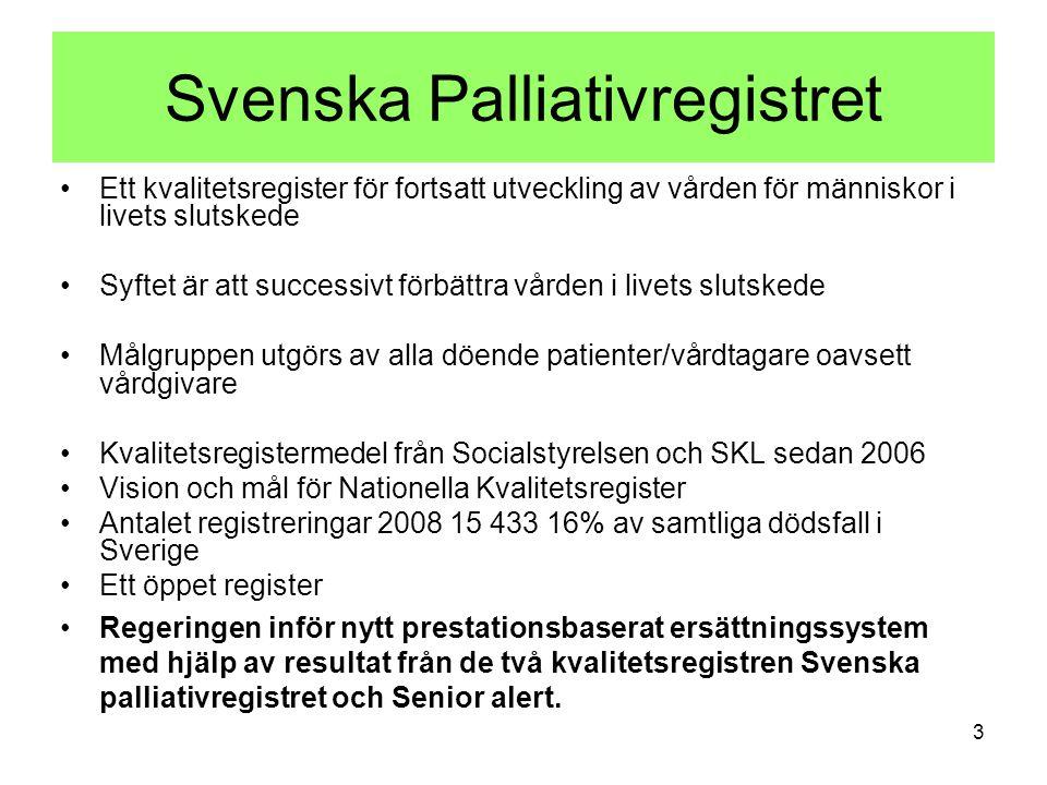 Svenska Palliativregistret Ett kvalitetsregister för fortsatt utveckling av vården för människor i livets slutskede Syftet är att successivt förbättra