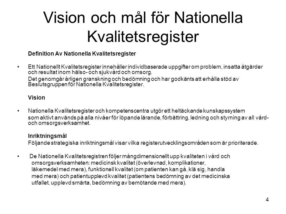 Vision och mål för Nationella Kvalitetsregister Definition Av Nationella Kvalitetsregister Ett Nationellt Kvalitetsregister innehåller individbaserade