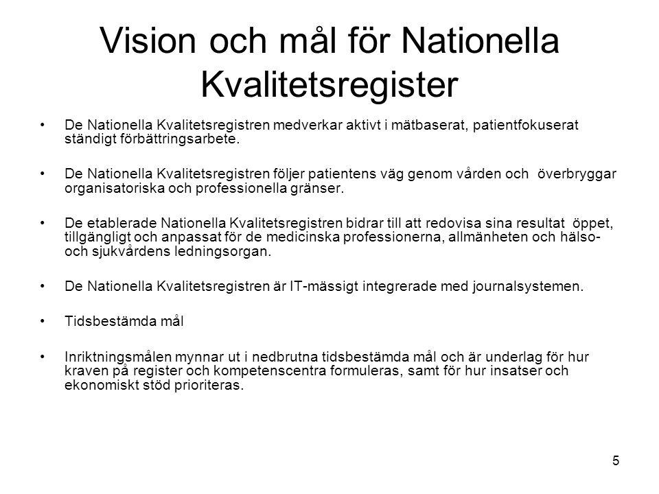 Vision och mål för Nationella Kvalitetsregister De Nationella Kvalitetsregistren medverkar aktivt i mätbaserat, patientfokuserat ständigt förbättrings