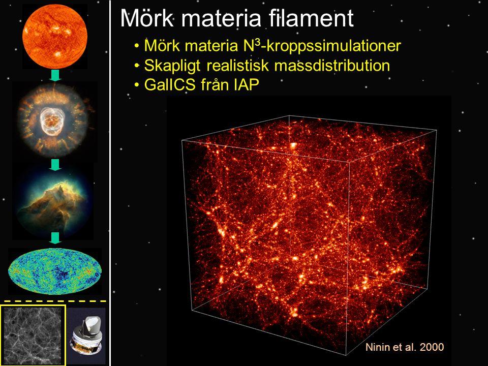 Mörk materia filament Mörk materia N 3 -kroppssimulationer Skapligt realistisk massdistribution GalICS från IAP Ninin et al.