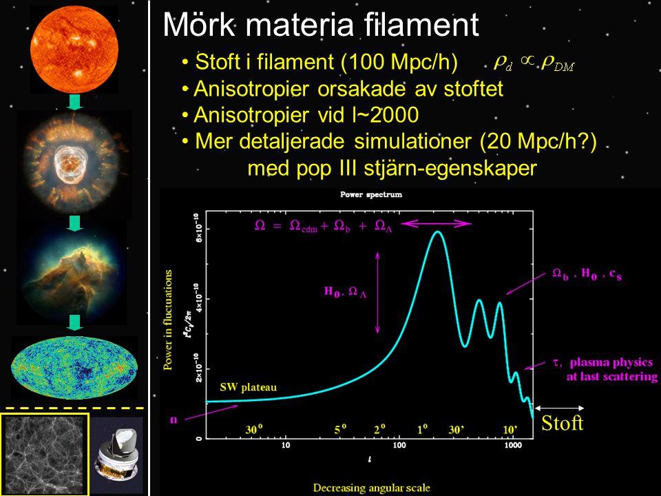 Mörk materia filament Stoft i filament (100 Mpc/h) Anisotropier orsakade av stoftet Anisotropier vid l~2000 Mer detaljerade simulationer (20 Mpc/h ) med pop III stjärn-egenskaper Stoft