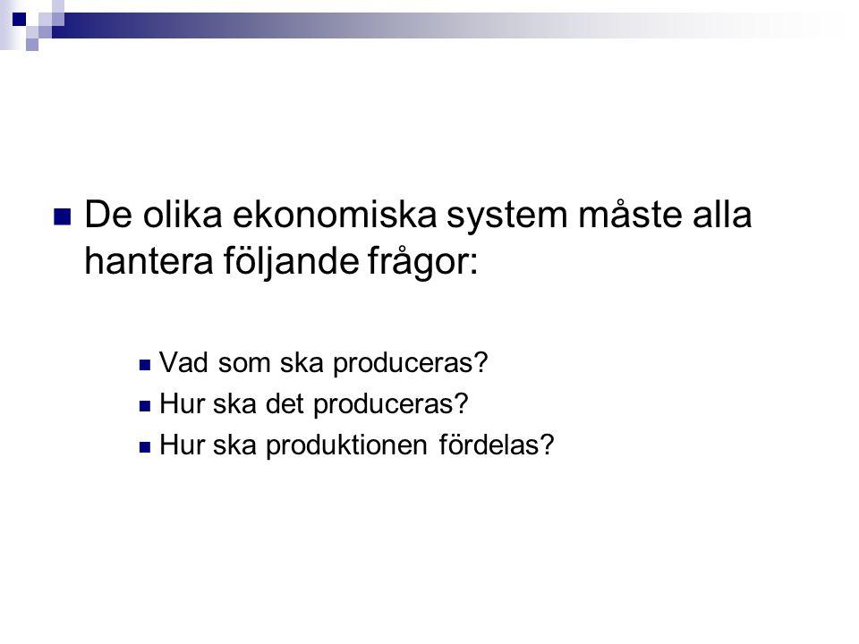 De olika ekonomiska system måste alla hantera följande frågor: Vad som ska produceras? Hur ska det produceras? Hur ska produktionen fördelas?