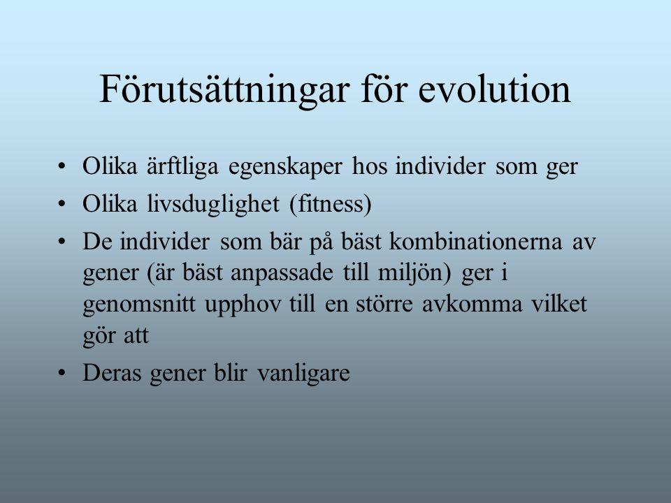 Förutsättningar för evolution Olika ärftliga egenskaper hos individer som ger Olika livsduglighet (fitness) De individer som bär på bäst kombinationer