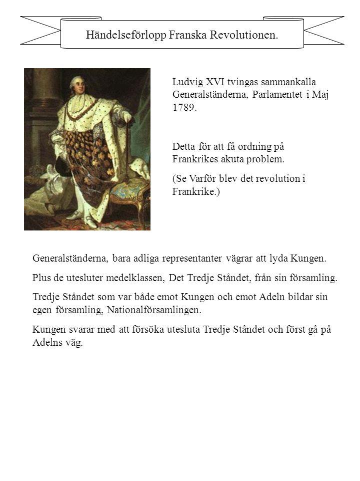 Händelseförlopp Franska Revolutionen. Ludvig XVI tvingas sammankalla Generalständerna, Parlamentet i Maj 1789. Detta för att få ordning på Frankrikes