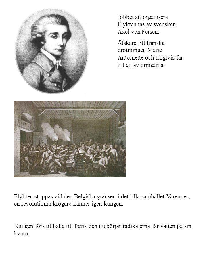 Jobbet att organisera Flykten tas av svensken Axel von Fersen. Älskare till franska drottningen Marie Antoinette och trligtvis far till en av prinsarn