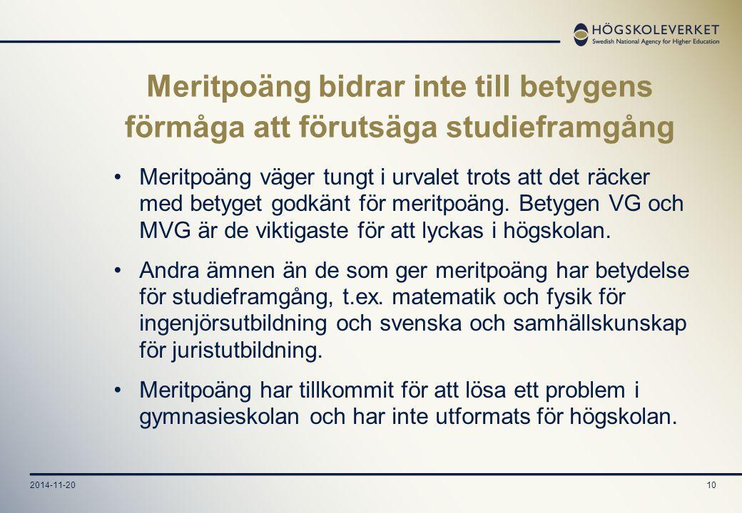 2014-11-2010 Meritpoäng bidrar inte till betygens förmåga att förutsäga studieframgång Meritpoäng väger tungt i urvalet trots att det räcker med betyget godkänt för meritpoäng.