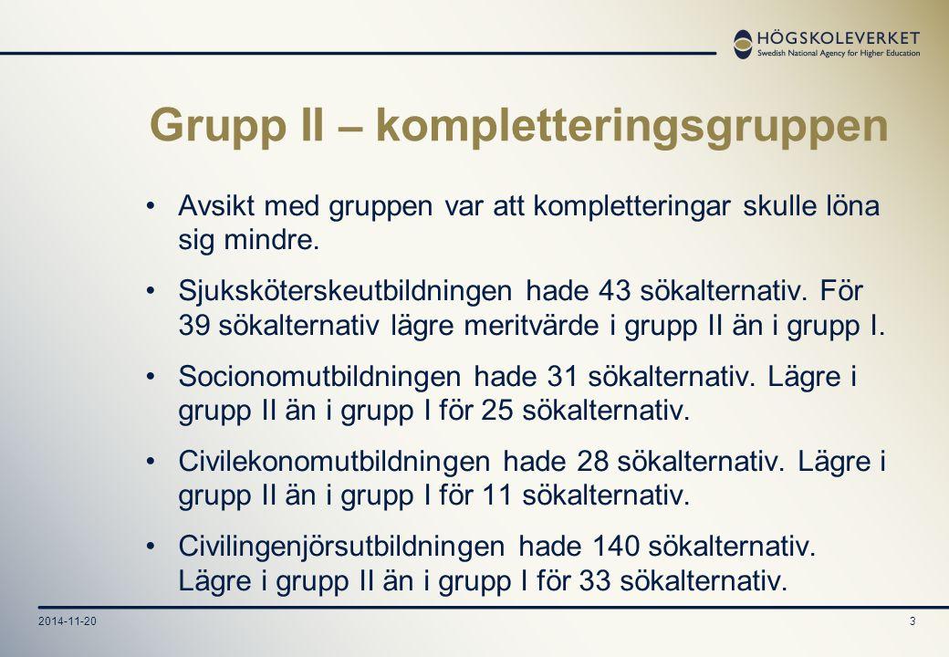 2014-11-203 Grupp II – kompletteringsgruppen Avsikt med gruppen var att kompletteringar skulle löna sig mindre.