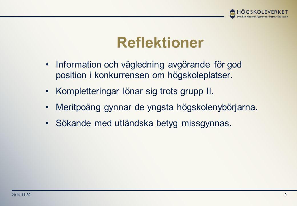 2014-11-209 Reflektioner Information och vägledning avgörande för god position i konkurrensen om högskoleplatser.