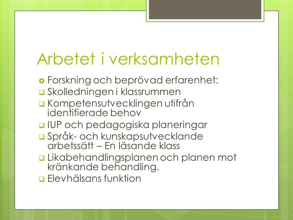 Förskoleklass  Förskollärare och fritidspedagog ansvarar  Språkutvecklande arbetssätt; Bornholm, Trulle och Praxis-alfabetet.