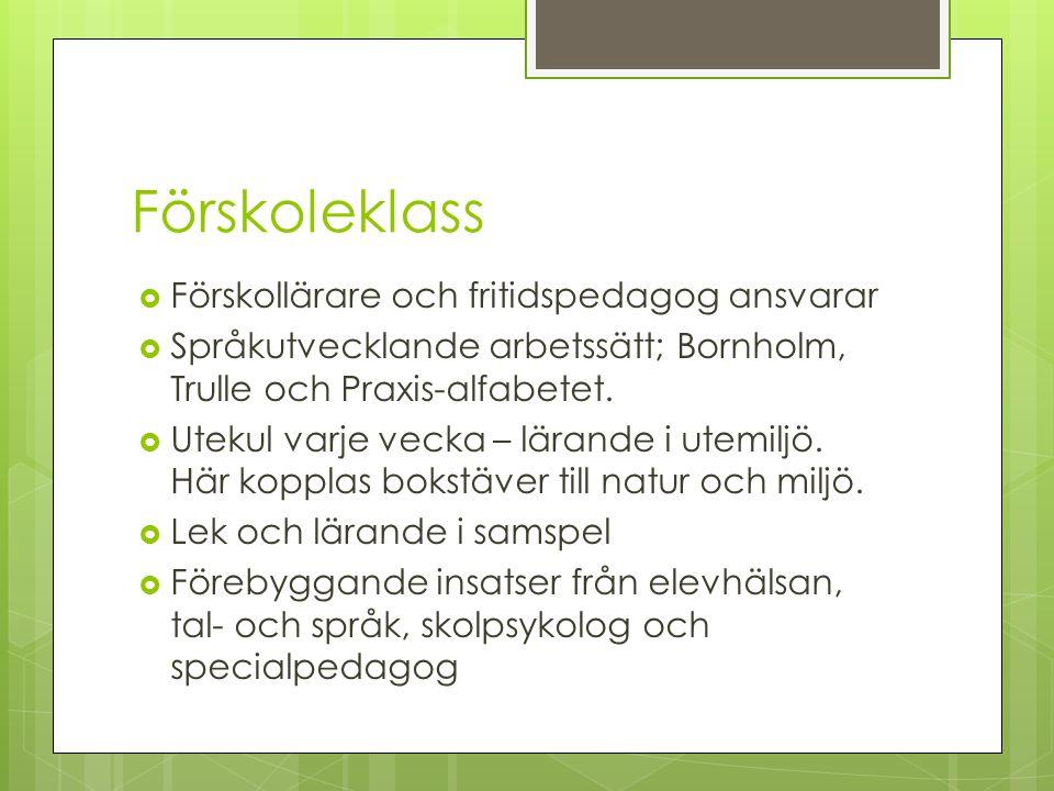 Förskoleklass  Förskollärare och fritidspedagog ansvarar  Språkutvecklande arbetssätt; Bornholm, Trulle och Praxis-alfabetet.  Utekul varje vecka –