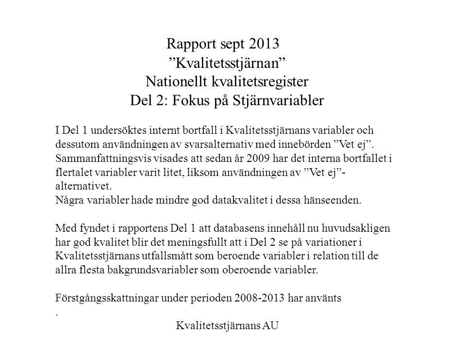 """Rapport sept 2013 """"Kvalitetsstjärnan"""" Nationellt kvalitetsregister Del 2: Fokus på Stjärnvariabler I Del 1 undersöktes internt bortfall i Kvalitetsstj"""