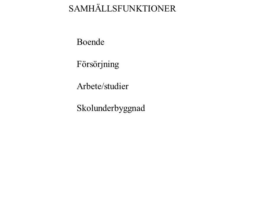 SAMHÄLLSFUNKTIONER Boende Försörjning Arbete/studier Skolunderbyggnad
