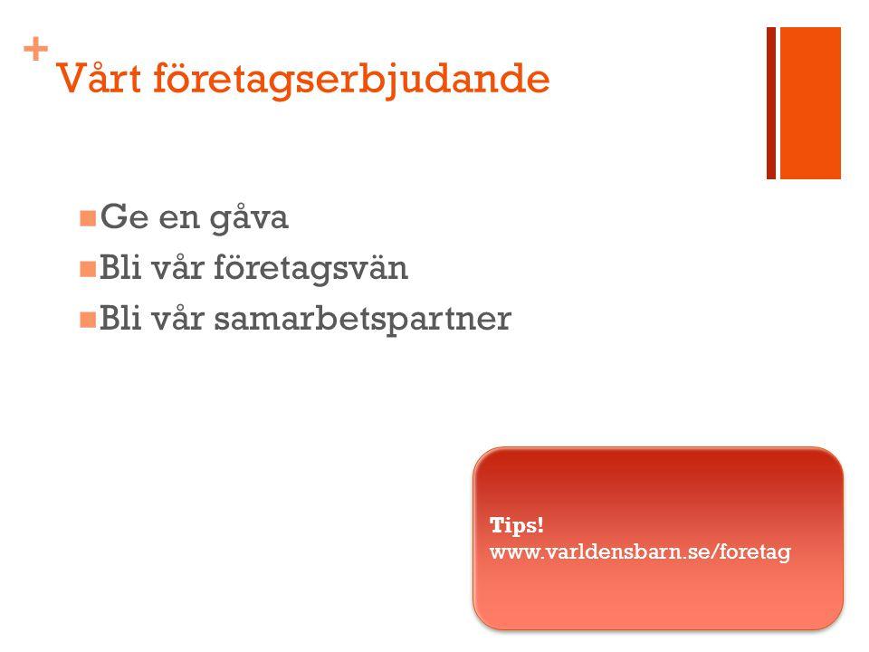 + Vårt företagserbjudande Ge en gåva Bli vår företagsvän Bli vår samarbetspartner Tips.