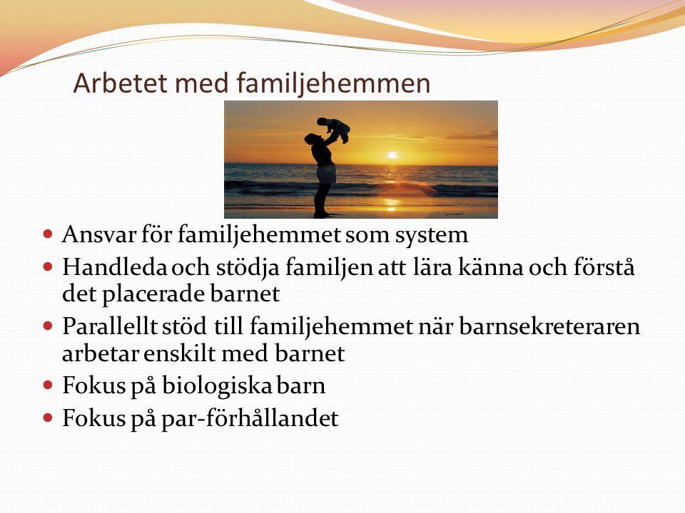 Arbetet med familjehemmen Ansvar för familjehemmet som system Handleda och stödja familjen att lära känna och förstå det placerade barnet Parallellt s