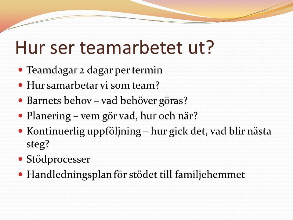 Hur ser teamarbetet ut? Teamdagar 2 dagar per termin Hur samarbetar vi som team? Barnets behov – vad behöver göras? Planering – vem gör vad, hur och n