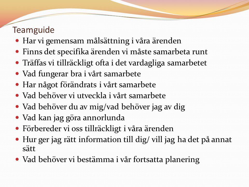 Teamguide Har vi gemensam målsättning i våra ärenden Finns det specifika ärenden vi måste samarbeta runt Träffas vi tillräckligt ofta i det vardagliga