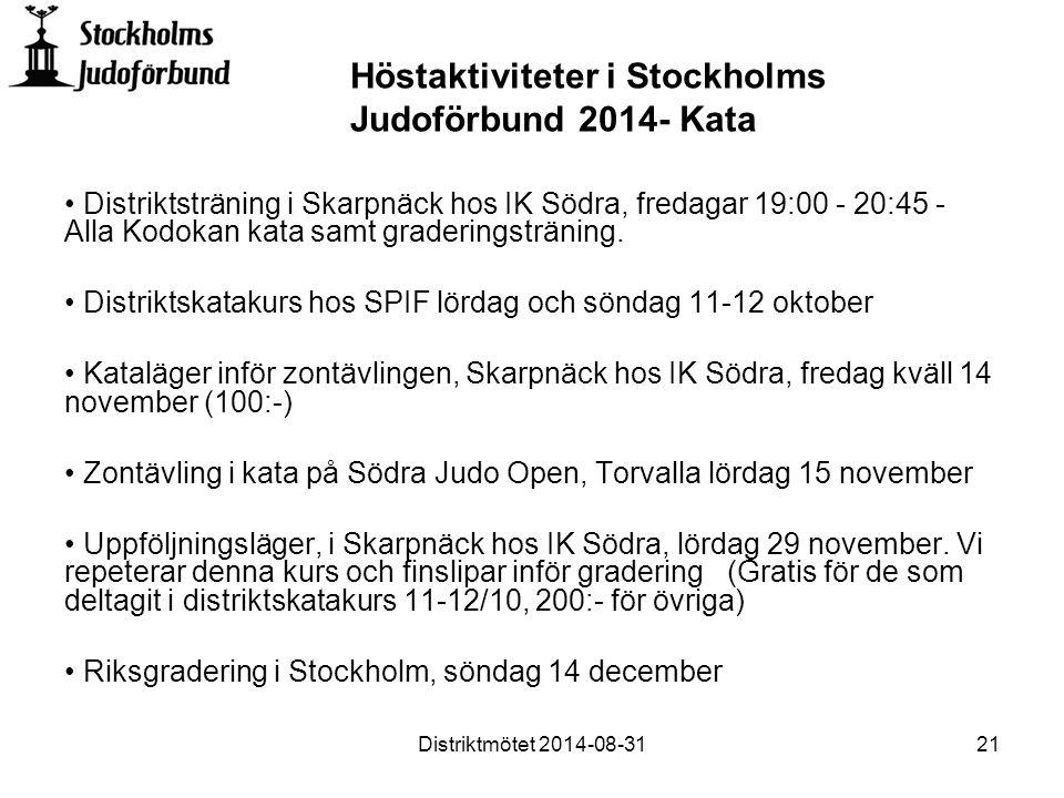 Distriktsträning i Skarpnäck hos IK Södra, fredagar 19:00 - 20:45 - Alla Kodokan kata samt graderingsträning.
