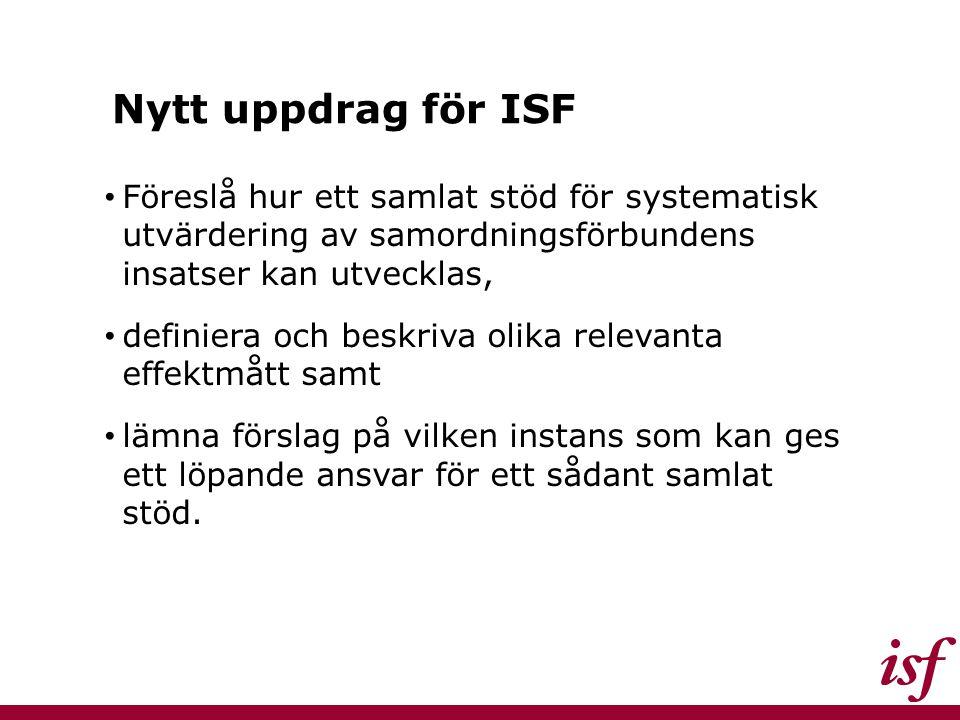 Nytt uppdrag för ISF Föreslå hur ett samlat stöd för systematisk utvärdering av samordningsförbundens insatser kan utvecklas, definiera och beskriva o