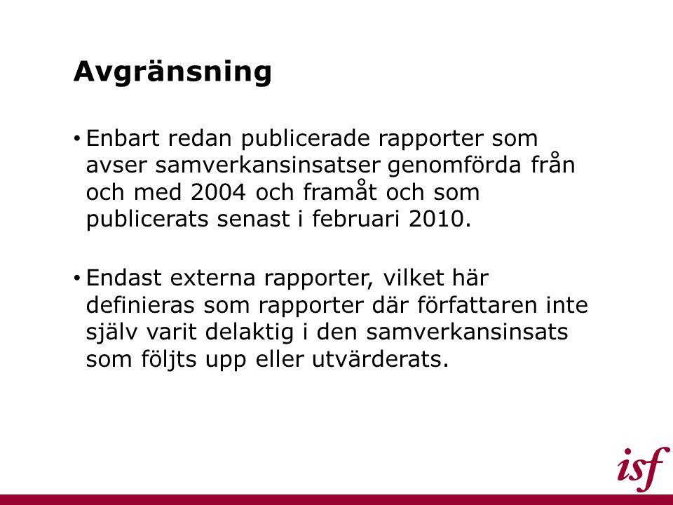 Avgränsning Enbart redan publicerade rapporter som avser samverkansinsatser genomförda från och med 2004 och framåt och som publicerats senast i febru