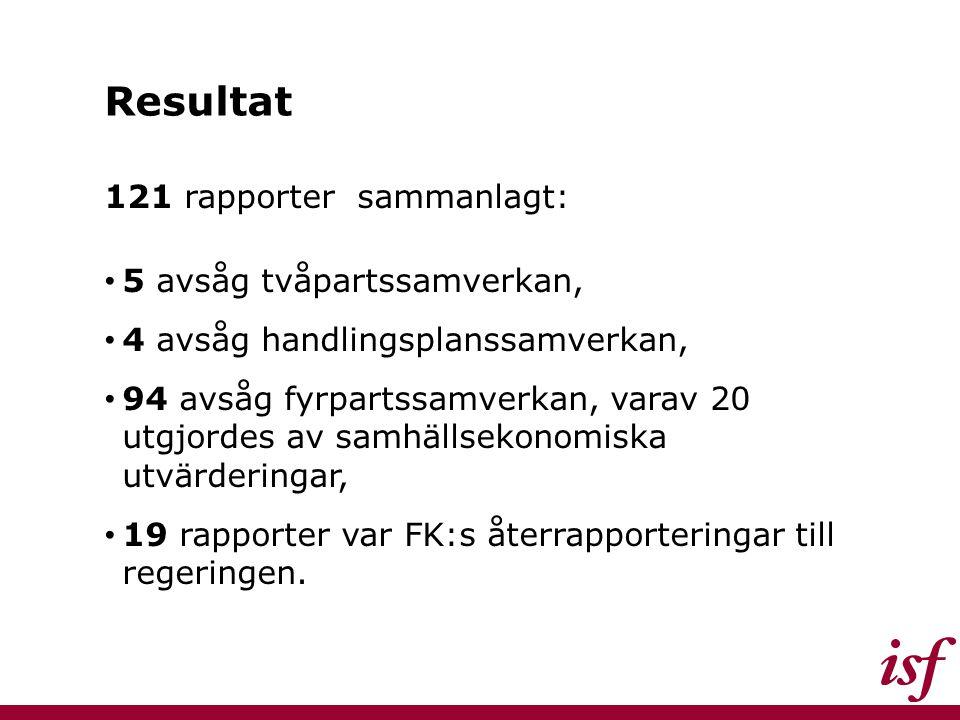 Resultat 121 rapporter sammanlagt: 5 avsåg tvåpartssamverkan, 4 avsåg handlingsplanssamverkan, 94 avsåg fyrpartssamverkan, varav 20 utgjordes av samhä