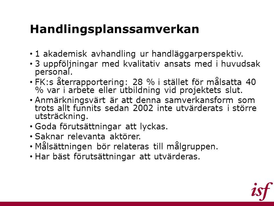 Handlingsplanssamverkan 1 akademisk avhandling ur handläggarperspektiv. 3 uppföljningar med kvalitativ ansats med i huvudsak personal. FK:s återrappor