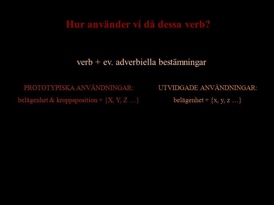 verb + ev. bestämningarev. adverbiella bestämningar PROTOTYPISKA ANVÄNDNINGAR: belägenhet & kroppsposition + {X, Y, Z …} UTVIDGADE ANVÄNDNINGAR: beläg