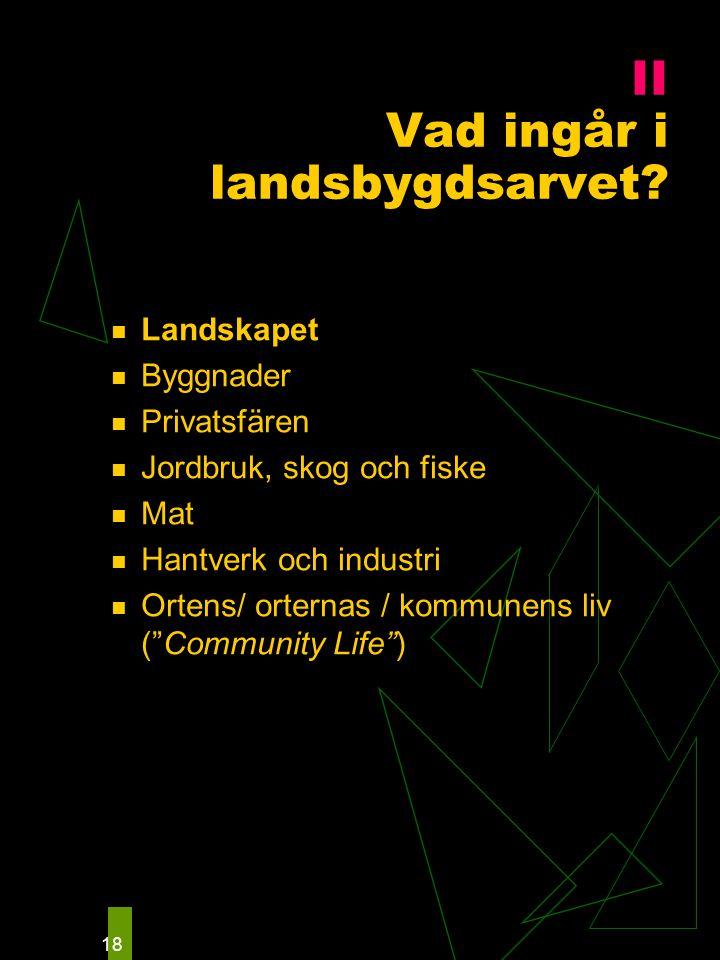 """18 Landskapet Byggnader Privatsfären Jordbruk, skog och fiske Mat Hantverk och industri Ortens/ orternas / kommunens liv (""""Community Life"""") II Vad ing"""