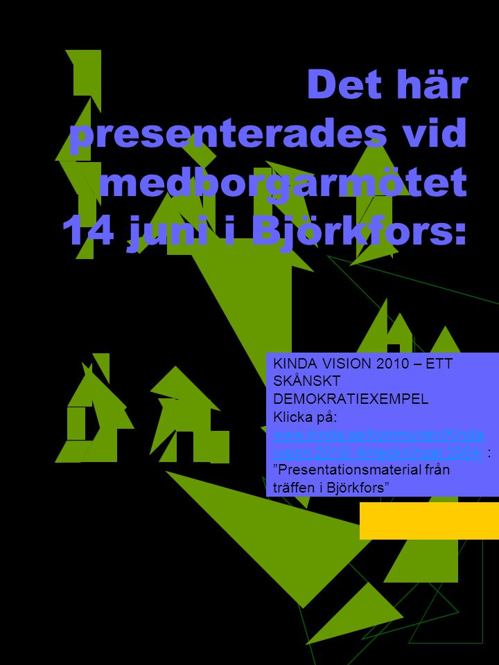 Det här presenterades vid medborgarmötet 14 juni i Björkfors: KINDA VISION 2010 – ETT SKÅNSKT DEMOKRATIEXEMPEL Klicka på: www.kinda.se/kommunen/Kinda