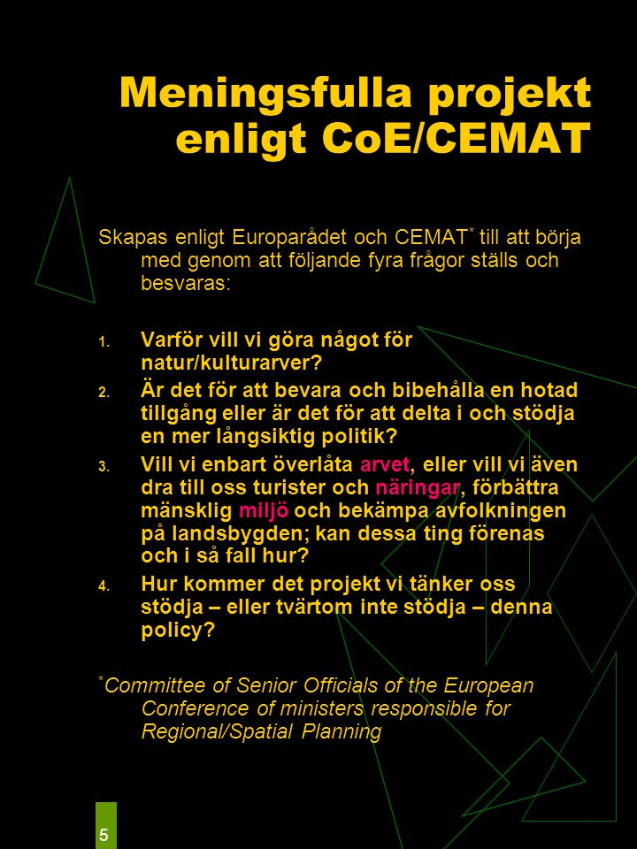 5 Meningsfulla projekt enligt CoE/CEMAT Skapas enligt Europarådet och CEMAT * till att börja med genom att följande fyra frågor ställs och besvaras: 1