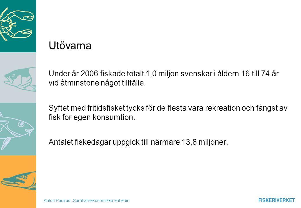 Anton Paulrud, Samhällsekonomiska enheten Utövarna Under år 2006 fiskade totalt 1,0 miljon svenskar i åldern 16 till 74 år vid åtminstone något tillfä