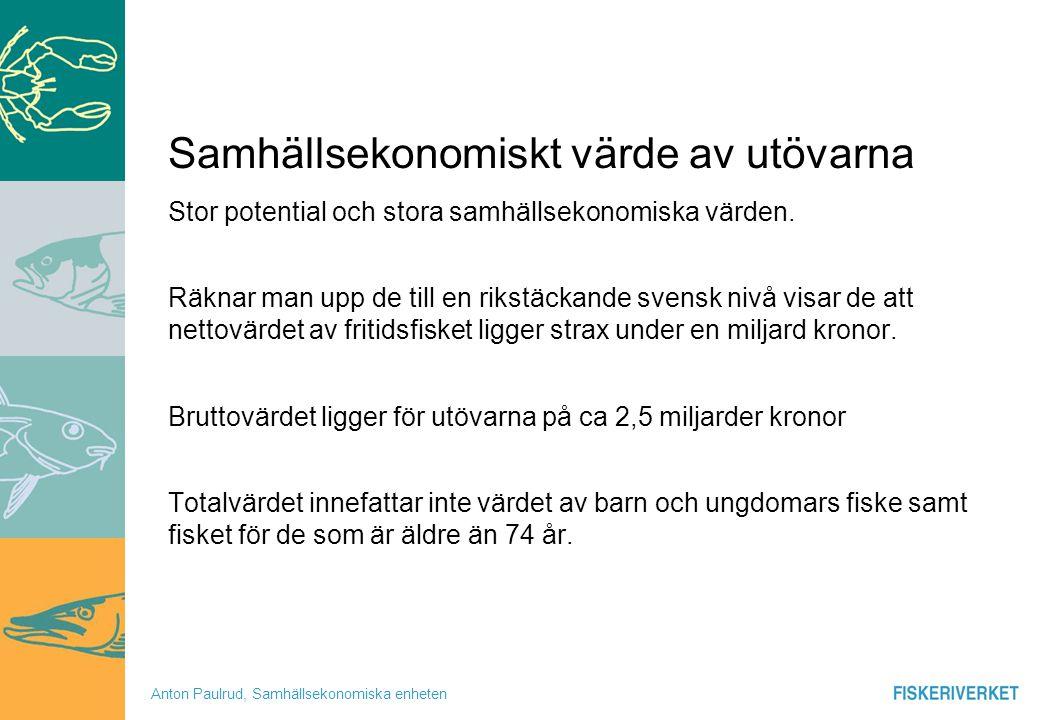 Anton Paulrud, Samhällsekonomiska enheten Fritidsfiskebaserad verksamhet Studien om de fritidsfiskebaserade företagen/föreningarna i Sverige avseende 2006 års verksamhet visar på en positiv framtidssyn.
