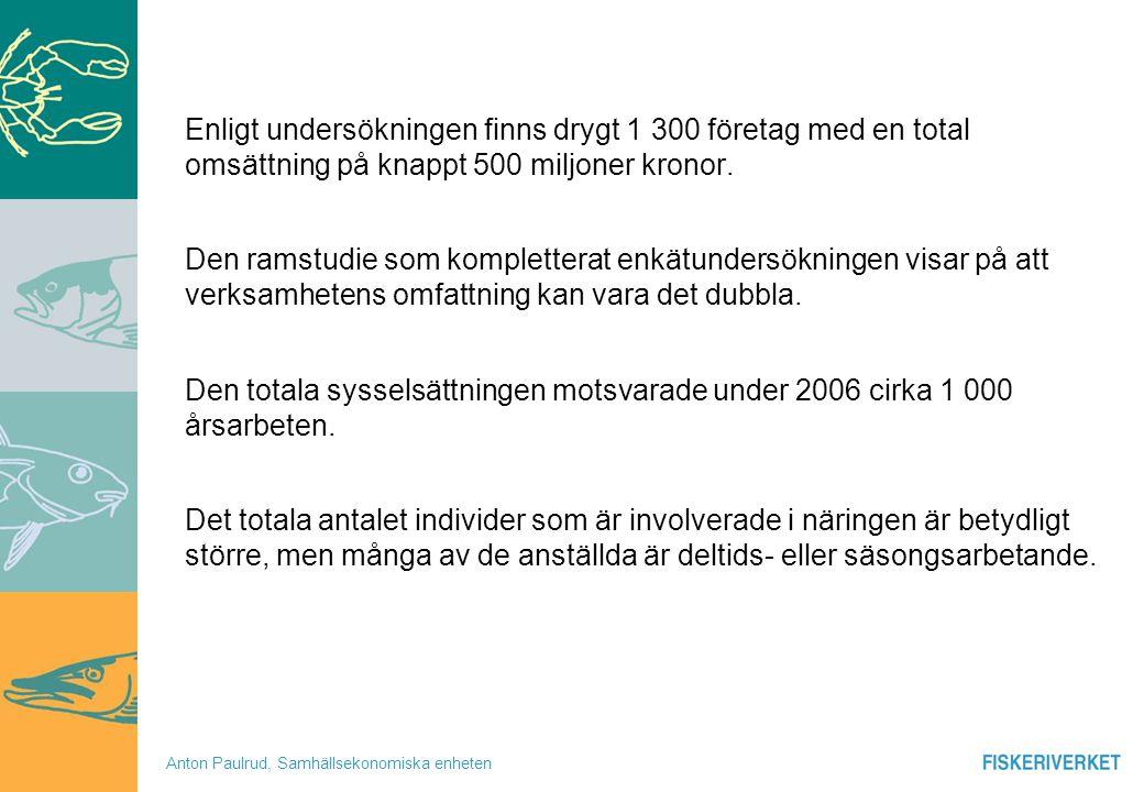 Anton Paulrud, Samhällsekonomiska enheten Enligt undersökningen finns drygt 1 300 företag med en total omsättning på knappt 500 miljoner kronor. Den r