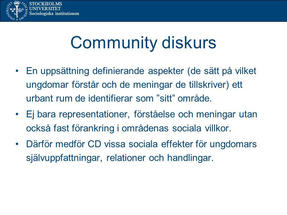 STOCKHOLMS UNIVERSITET Sociologiska institutionen Community diskurs En uppsättning definierande aspekter (de sätt på vilket ungdomar förstår och de meningar de tillskriver) ett urbant rum de identifierar som sitt område.