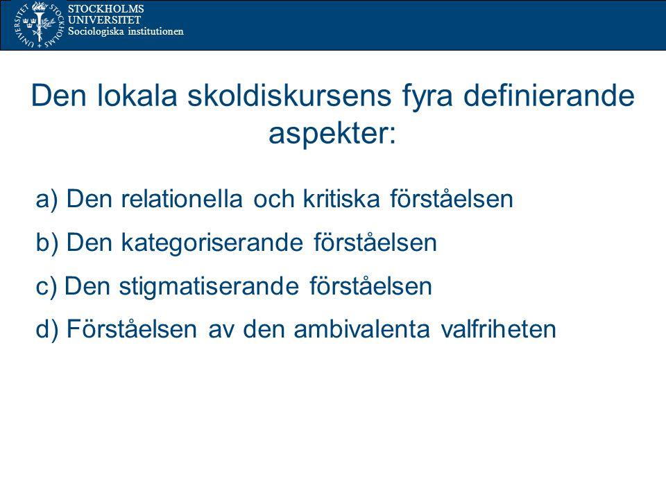 STOCKHOLMS UNIVERSITET Sociologiska institutionen Den lokala skoldiskursens fyra definierande aspekter: a) Den relationella och kritiska förståelsen b) Den kategoriserande förståelsen c) Den stigmatiserande förståelsen d) Förståelsen av den ambivalenta valfriheten