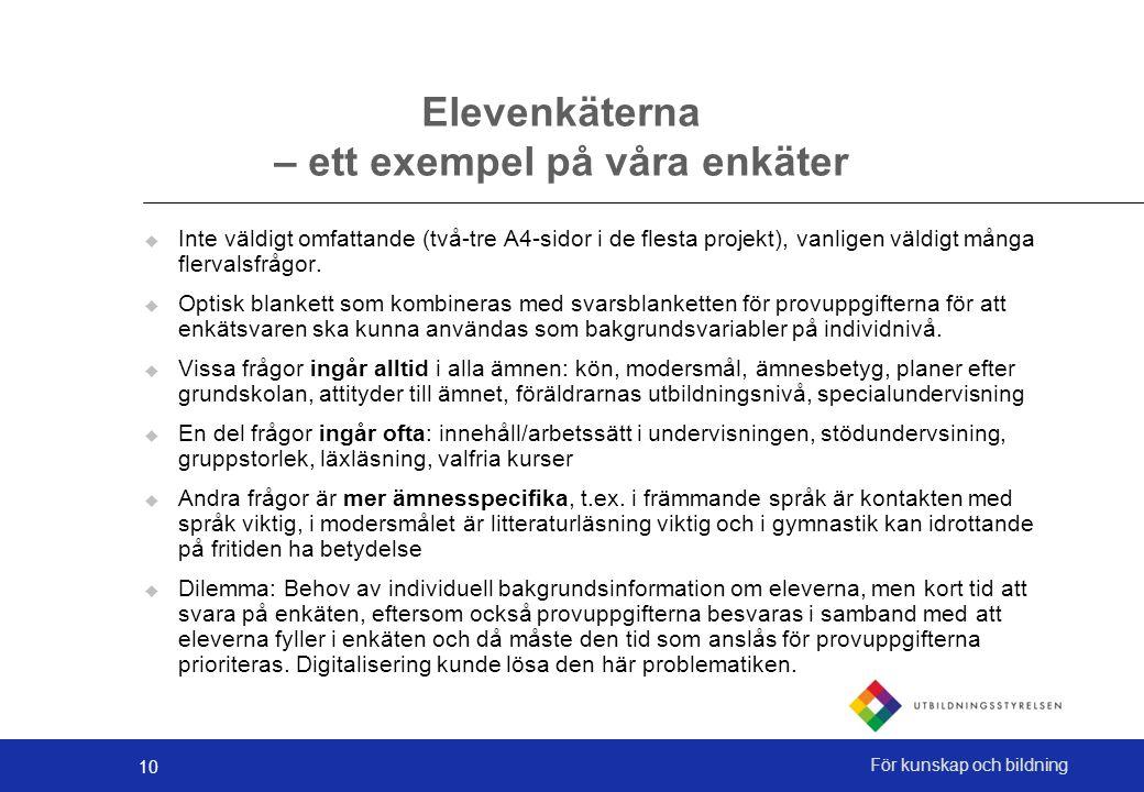 10 För kunskap och bildning Elevenkäterna – ett exempel på våra enkäter  Inte väldigt omfattande (två-tre A4-sidor i de flesta projekt), vanligen väldigt många flervalsfrågor.