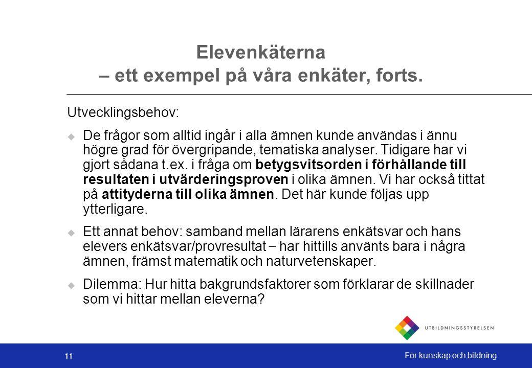 11 För kunskap och bildning Elevenkäterna – ett exempel på våra enkäter, forts.