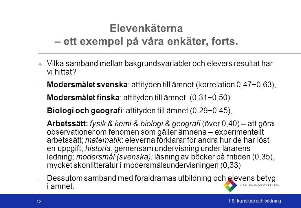 12 För kunskap och bildning Elevenkäterna – ett exempel på våra enkäter, forts.