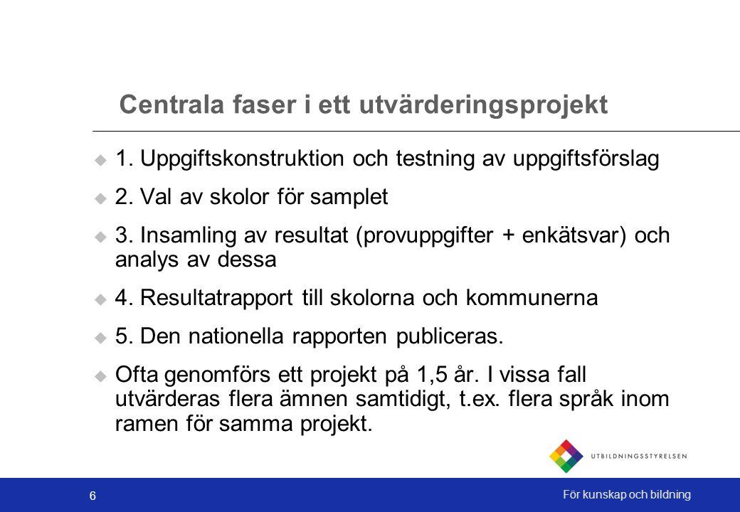 6 För kunskap och bildning Centrala faser i ett utvärderingsprojekt  1. Uppgiftskonstruktion och testning av uppgiftsförslag  2. Val av skolor för s