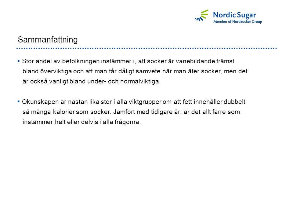 Sammanfattning  Stor andel av befolkningen instämmer i, att socker är vanebildande främst bland överviktiga och att man får dåligt samvete när man äter socker, men det är också vanligt bland under- och normalviktiga.