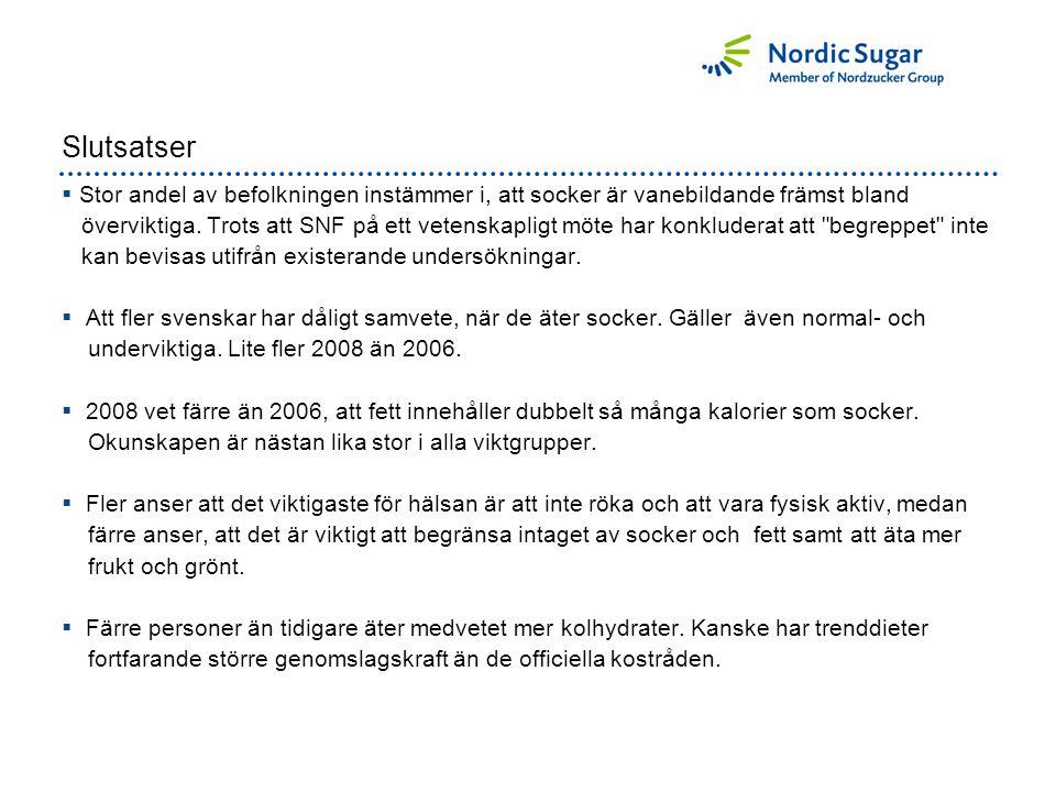 Slutsatser  Stor andel av befolkningen instämmer i, att socker är vanebildande främst bland överviktiga.