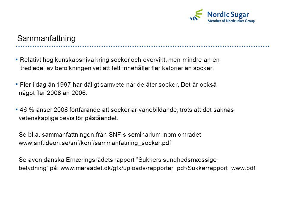 Inställning till socker 2008 – beroende på BMI (Body Mass Index)
