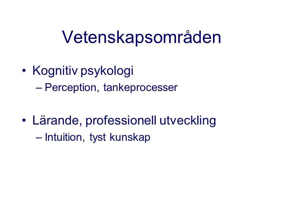Vetenskapsområden Kognitiv psykologi –Perception, tankeprocesser Lärande, professionell utveckling –Intuition, tyst kunskap
