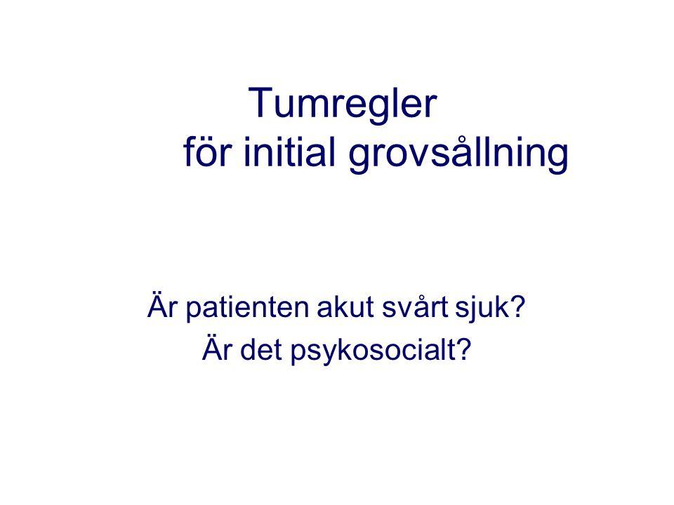 Tumregler för initial grovsållning Är patienten akut svårt sjuk? Är det psykosocialt?
