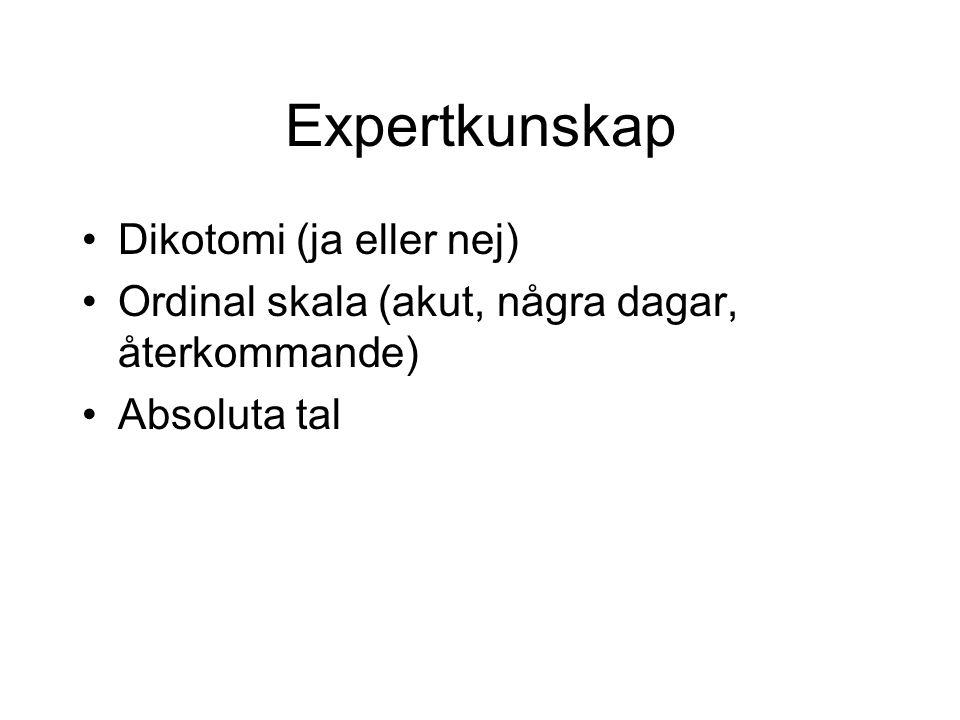 Expertkunskap Dikotomi (ja eller nej) Ordinal skala (akut, några dagar, återkommande) Absoluta tal