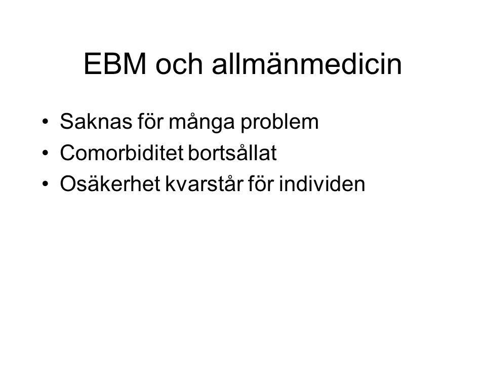 EBM och allmänmedicin Saknas för många problem Comorbiditet bortsållat Osäkerhet kvarstår för individen