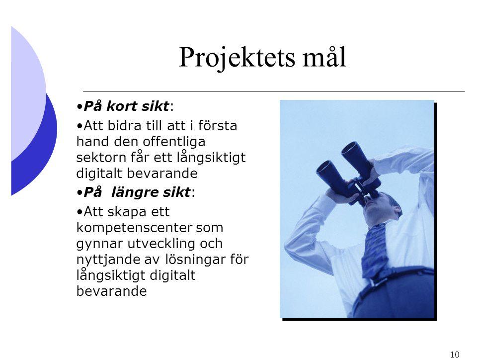 10 Projektets mål På kort sikt: Att bidra till att i första hand den offentliga sektorn får ett långsiktigt digitalt bevarande På längre sikt: Att ska